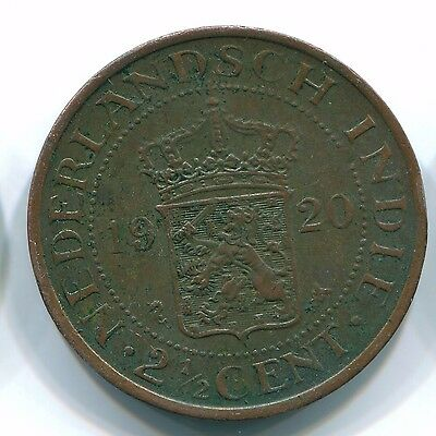 1920 2 1/2 Cent Netherlands Indies  Bronze Colonial Coin S12082