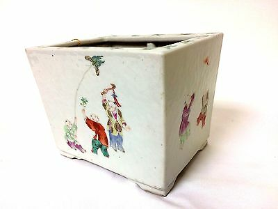 Antique 19th C Chinese Porcelain Planter With Children Playing Bat Butterflies