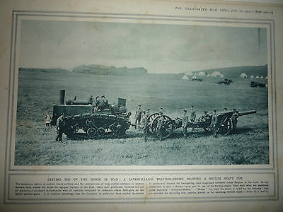 """1914 Ww1 Print. """" Getting Rid Of The Horse In War ."""" Rare"""