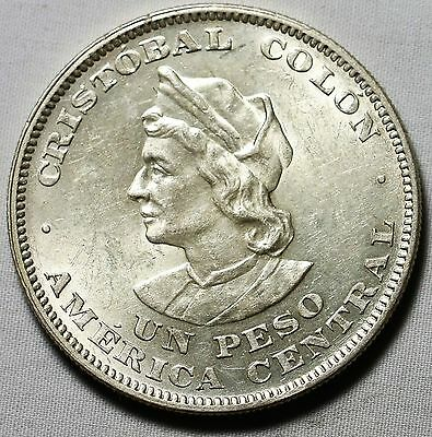Republica Del Salvador 1908 Christobal Colo Un Peso
