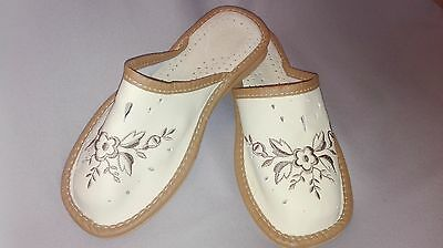 Handmade Natural Lether Slippers size 7.5 - CLEARANCE