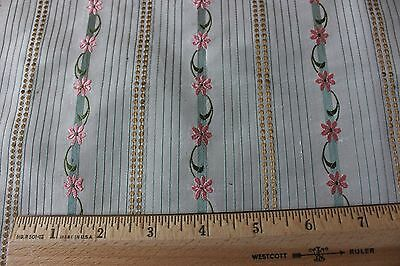 French Silk 19thC Doll Scale Floral & Gold Metallic Antique Textile Fabric c1830