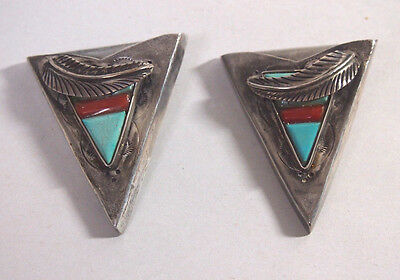 Vtg Sterling Shirt Collar Tips With Stones Signed Ns