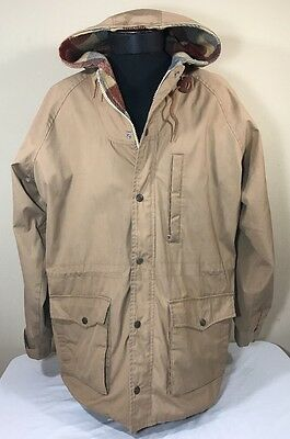 VTG Levi's Jacket Khaki Flannel Lined Men XL Made USA Hood Coat 70's 80's