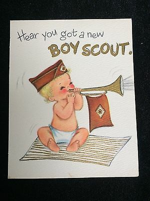 """Vintage """"a Little Boy Scout - Hallmark Baby Greeting Card Fold Out"""