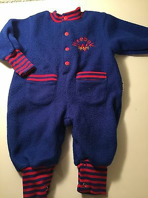 Vintage Weebok Sport Baby Boys One Piece Outfit Size 3-6 Months Warm Blue Red