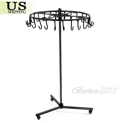Rotating Earring Bracelet Ring Necklace Metal Jewelry Display Stand Holder Rack