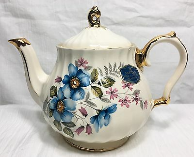 Vintage Sadler Fine English Teapot Blue Pink Flower Motif Numbered England