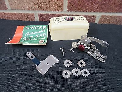 Singer Automatic Zig-Zag Attachment 160990 Complete & With Instructions 6 Cams