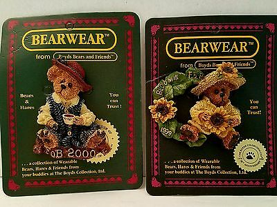 Boyds Bearwear Collection Pin Brooch Lot of 2 Caitlin &  Bloomin