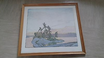 vintage print picture from woodcut Sunset Lake of the Woods W J Philips