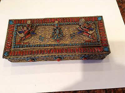 Magnificent Antique Tibetan Gau Buddhist Brass Prayer Box Coral Turquoise Lapis