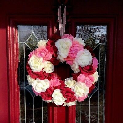 Valentines Day Heart Roses Door Decor Wall Hanging Wreath Swag FLORAL Red Pink