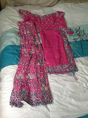 pink lengha choli indian outfit dress bollywood glamarous heavy
