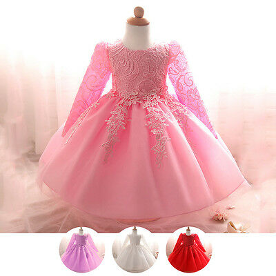 Flower Girl Princess Lace Dress Baby Baptism Party Pageant Formal Tutu Gown 1-2T