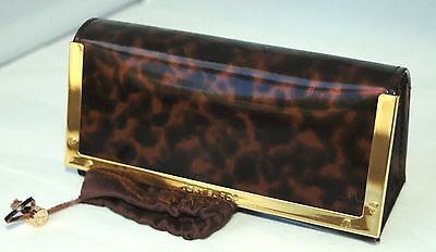 Authentic Tory Burch Eye Glasses Case leopard print Sunglasses case patent
