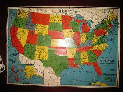 Antique Pre WWII 1940's Wood Map~US and World~Milton Bradley