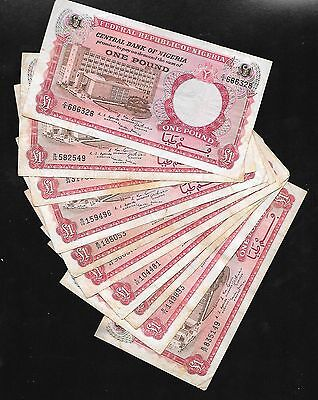 Nigeria 1967  1 Pound  VF  Lot of 10 notes