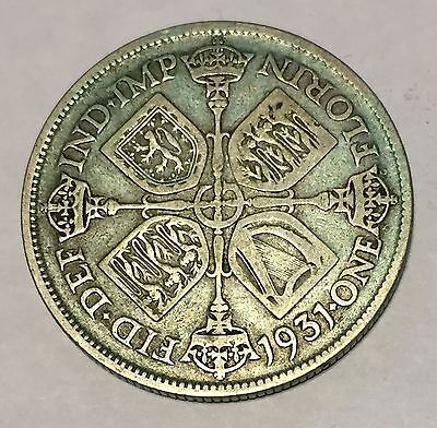 1931 Silver Florin, George V, Two Shillings
