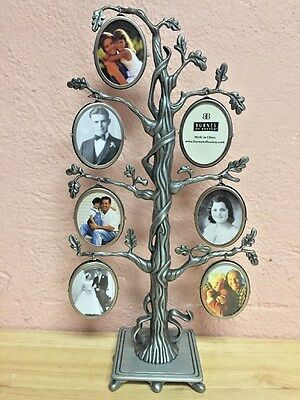Burns Of Boston Metal Family Tree Picture Frames Holds 14 Pewter Look