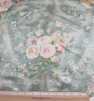 "Antique c1880 French Rose Bouquet Satinized Textile Fabric Sample~18""LX32""W"
