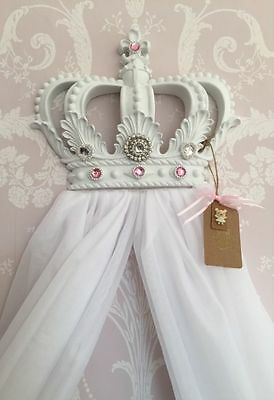 Baby Shower Christening Princess Girls White Baby Pink Cot Bed Crown Canopy