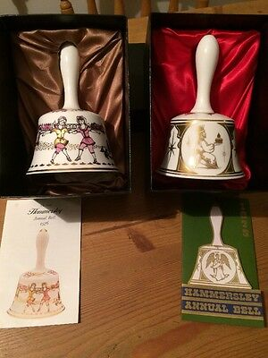 Hammersley China Annual Bells,1973 & 1976. Original boxes and insert.