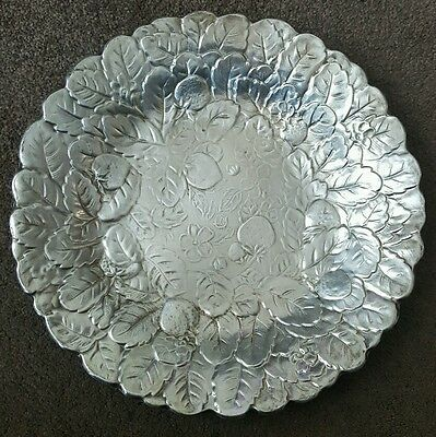 Large wite metal antique fruit plate