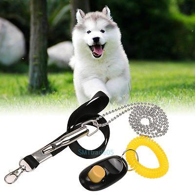 Pet Dog Puppy Training Tool Ultrasonic Sound Whistle +Clicker Ring + Lanyard Set