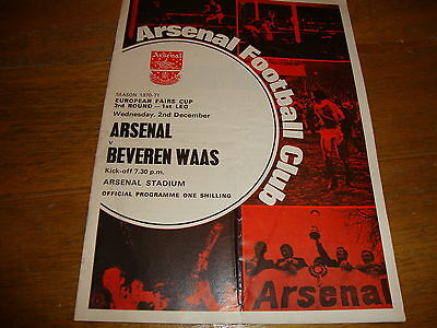 1970-71 FAIRS CUP ARSENAL v  BEVEREN  WAAS DOUBLE YEAR