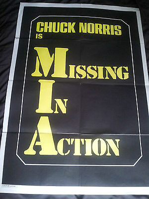 100cm x 70cm CHUCK NORRIS IS MISSING IN ACTION POSTER - FOTOCROM ROMA - folded