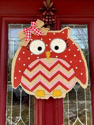 Valentines Day Heart Owl Door Wreath Decor Wall Hanging Swag FLORAL PICK Red