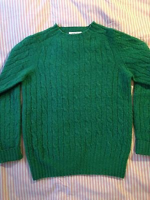 YMC Green Wool Jumper Fuzzy Cable Knit S