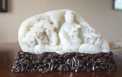 Well  Hand  Carved  Chinese  White  Jade  Statue  Of  Seated  Kwan-Yin.