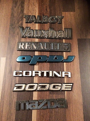 JOB LOT OF VINTAGE CAR BADGES including Renault5,Talbot,Cortini,Dodge,Vauxhall