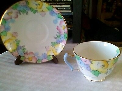 Crown Staffordshire Fine Bone China Cup and Saucer Est 1801 Red / Yellow Roses