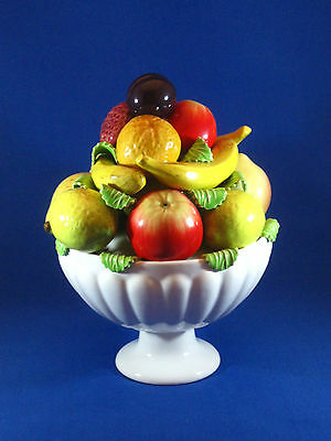 Vintage Portugese Ceramic Bowl of Fruit ~ Majolica Style.