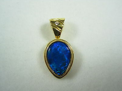 18ct Yellow Gold Triplet Opal and Diamond pendant