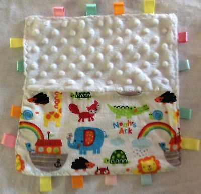 babies taggy comfort blanket With Noah's Ark Fabric