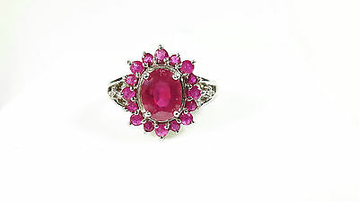 Sterling Silver 2.96cts Ruby Cluster and Diamond Ring