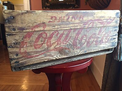 ANTIQUE WOODEN DRINK COCA COLA CRATE CARRIER BOX Patented 1928