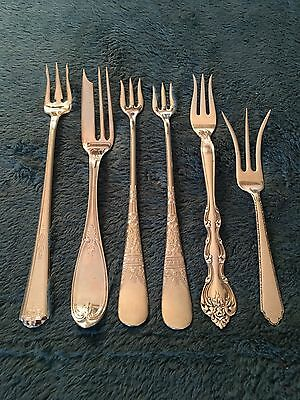 Lot of 6 Vintage Silver Plate SEAFOOD FORKS (Assorted Patterns)