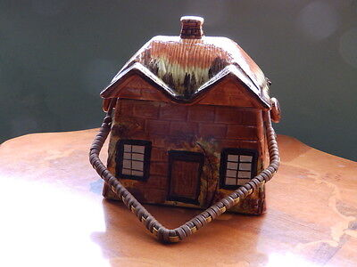 Price Bros. Cottage Ware Biscuit Barrell with lid and wicker handle marked B