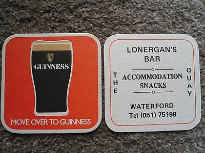 Guinness Beermat Advertising Lonergan,s Bar, The Quay, Waterford, Ireland.