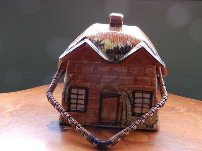 Price Bros. Cottage Ware Biscuit Barrell with lid and wicker handle