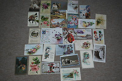 Vintage Tuck's Etc Christmas And Birthday Postcards Early 1900's Lot 1