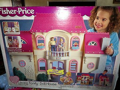 Fisher Price Loving Family  Dollhouse 4649 with Box, Van, 12 people & extras