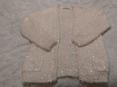 girls cream sequin cardigan age 7-8