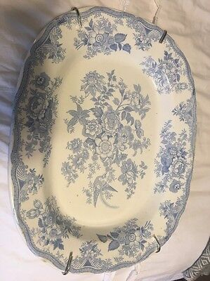 Light Blue Transferware Large Plate Floral Pattern