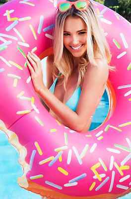 Big! Pool Ring Inflatable Raft  Beach Floatie Donut Pool Toy Toys  Strawberry .